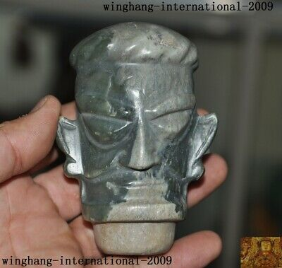Chinese Sanxingdui Culture Hetian Old jade carved Sacrifice people head Pendant