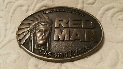VINTAGE 1988 The PINKERTON TOBACCO CO. REDMAN CHEWING TOBACCO BRASS BELT BUCKLE