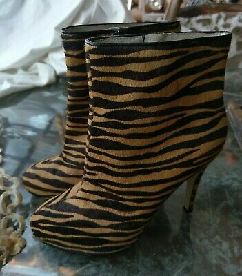 0e9f484a58 Wittner ANIMAL Print Fur Tiger Leather Ankle Boot Booties Heels Sz 38