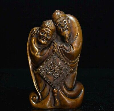 Collectable China Antique Boxwood Hand Carve Old Couple Vivid Interesting Statue
