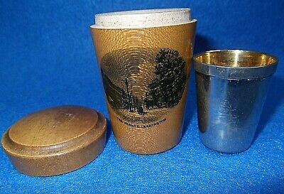 The Parade Leamington MAUCHLINE SHOT TOT GLASS HOLDER & METAL CUP
