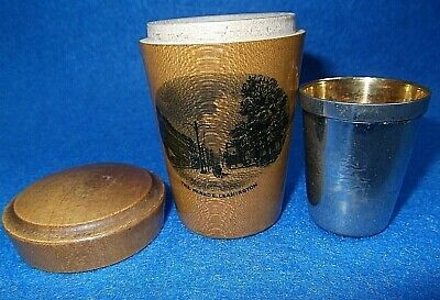The Parade Leamington:SCOTTISH MAUCHLINE TREEN SHOT TOT GLASS HOLDER+ METAL CUP