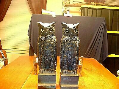 Pair Antique Bradley & Hubbard Cast Iron Owl Andirons With Glass Eyes Signed