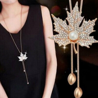 8EF9 Long Sweater Chain Maple leaves Necklace Winter Jewlery Accessories Silver/