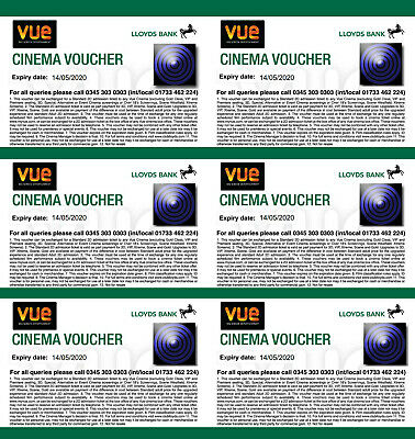 Six (6) Vue Cinema Tickets from Club Lloyds Long Expiry Date 14/05/20