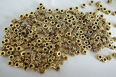50 Antique Gold Coloured 5mmx3mm Spacer Beads #sp0144 Jewellery Making Craft