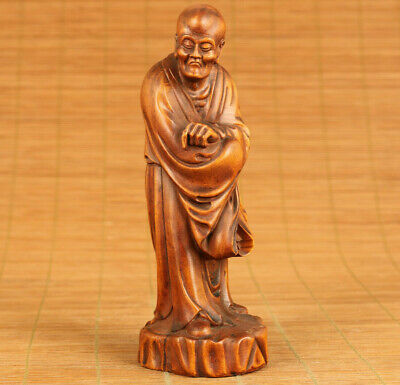 Antique  Chinese  Old Boxwood Hand Carved Love Buddha Statue Figure