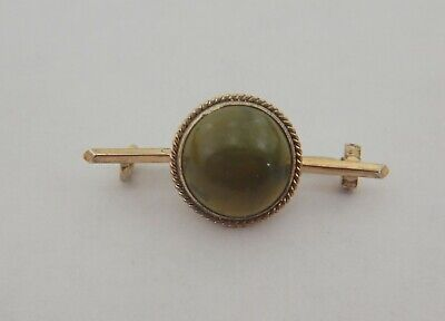 Antique Arts & Crafts Silver Gilt Moss Agate Pin Brooch