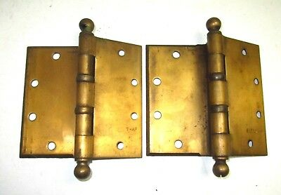 """Antique 5"""" McKinney Half Surface Brass Hinge Pair Model T-AF 4-Pairs Available"""