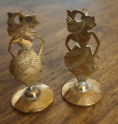 antique indian brass copper pair napkin or place name holders