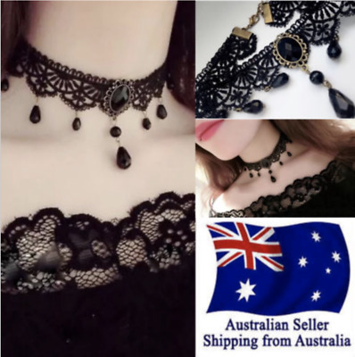 Black Velvet Lace Choker Necklace Fashion Women Pendant Gothic Jewellery AU