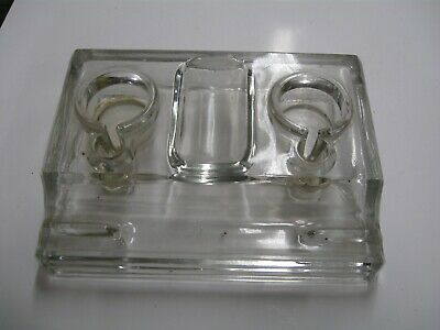 Glass Writing Desk Ink Well 2 Wells Writing rest Solid Class From Old estate No