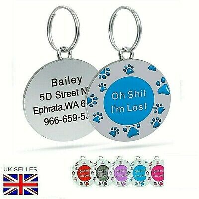 FREE ENGRAVING Dog ID / Cat ID Name Bling Tag Paw Personalised Puppy Pet ID Tags