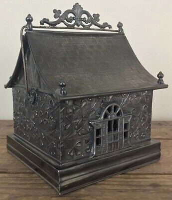 Antique Hartford Silver Plate House Flowers Insects Cigarette Box ca1890 RARE