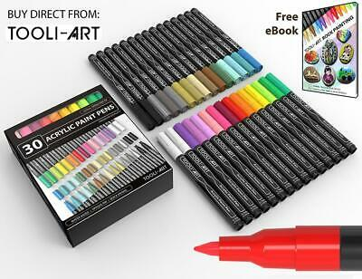 Acrylic Paint Pens 30 Assorted Markers Set 0.7mm (Extra Fine Tip)