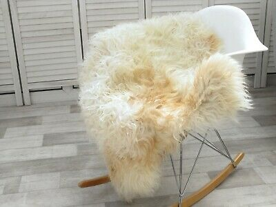 Genuine Icelandic Sheepskin Rug Curly Cream Beige Colour Mongolian Style G011
