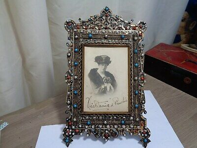 Arts and crafts large picture frame surrounded with semi precious stones