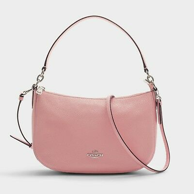 COACH Chelsea Crossbody Handbag in Peony/Silver Pink,Leather/Womens/Shoulder/Bag
