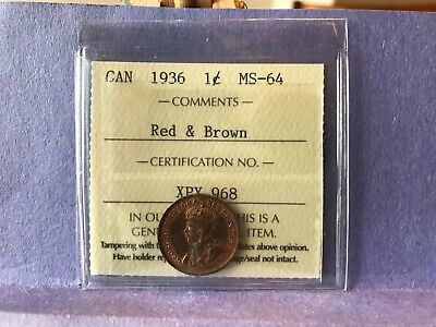 1936 1 cent - ICCS MS64 - Beautiful - Priced To Sell