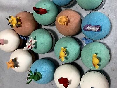Pokemon Bath Bombs  for Kids with Surprise Toy Inside - Lush Shea Butter 6 count