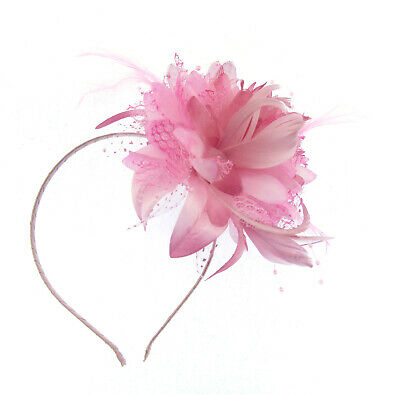 Pink flower feather fascinator headband for Ascot , Races, Weddings, Ladies Day