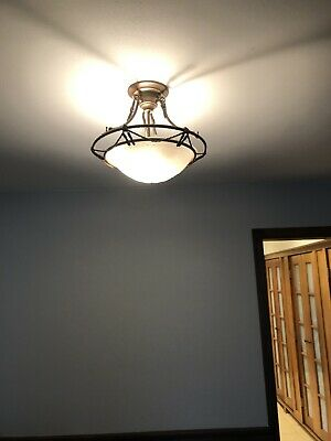 Art Deco Antique frosted glass semi flush ceiling light fixture chandelier