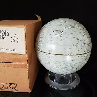 "Replogle Mid Century Modern 12"" Lunar Globe Moon Apollo Original Shipping Box"