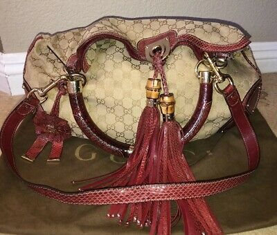 cf6e9ef067fc73 Rare Gucci For Unicef Large Indy Monogram Bag Purse Canvas Red Leather  Tassle