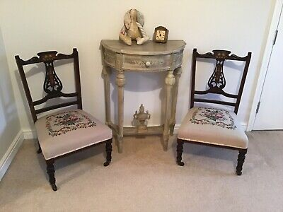 Pair of antique sweet nursing chairs with tapestry seats