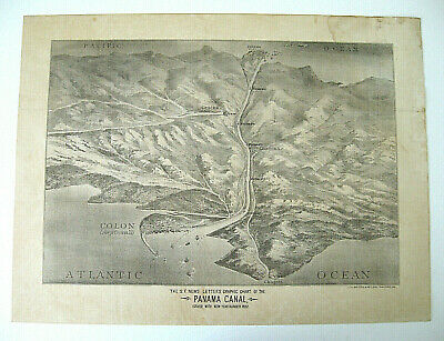1882 lithograph  /  San Francisco Newletter's Graphic Chart of the Panama Canal