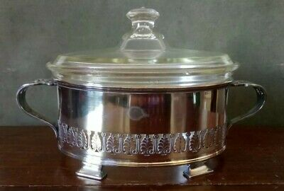 Antique Pyrex Glass & William Suckling Kingsway Silver Plate Serving Dish
