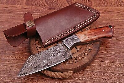 "Beautiful Handmade Damascus Steel Hunting Cleaver Knife""Dyed Bone Handle""(PB14)"