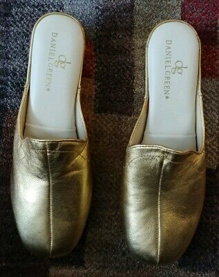 278da96386 NEW Daniel Green Women's Glamour Gold Kidskin Slippers 9 Metallic mule slip  on