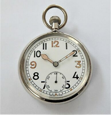 1940'S Bravingtons 15 Jewelled Swiss Lever Military Pocket Watch Working