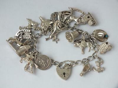 Solid Sterling Silver Charm Bracelet with Charms/ L 16 cm/ 60 g