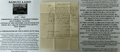 Thoroughbred Horse Racing Trainer Colts Neck Inn Nj Postmaster Letter Signed1845