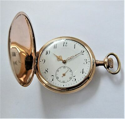 1920'S Gold Filled Full Hunter 15 Jewelled Swiss Lever Pocket Watch Working