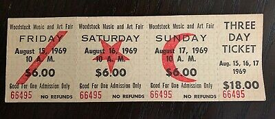 Original Woodstock 1969 $18 Authentic 3 Day Ticket Complete • Stub #66495