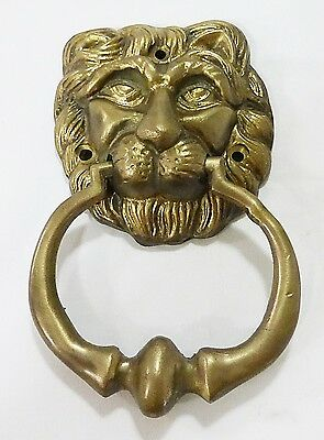 door knocker lion head solid brass Victorian style heavy vintage
