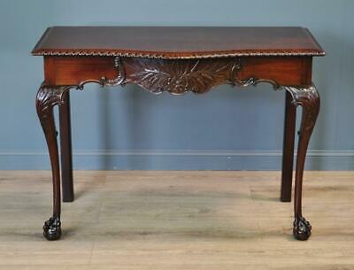Attractive Large Antique Mahogany Serpentine Hall Side Table With Drawer