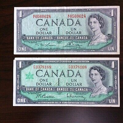 1967 and a 1973 Bank of Canada 1 dollar notes