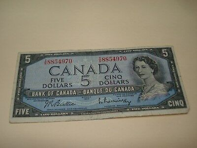1954 - $5 Canada note - Canadian five dollar bill - IS8854970