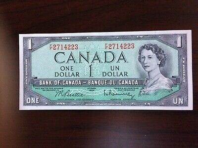 1954 1 dollar Bank of Canada note. cunc. prefix F/F