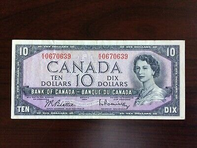1954 Bank of Canada 10 dollar note. Prefix K/V