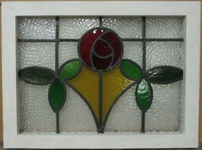 "OLD ENGLISH LEADED STAINED GLASS WINDOW Stunning Mackintosh Rose 21"" x 15.75"""