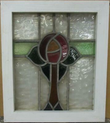 "OLD ENGLISH LEADED STAINED GLASS WINDOW Gorgeous Mackintosh Rose 14.5"" x 17"""