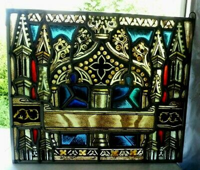 Antique Church Tyrolean Stained Glass Window Architectural Salvage Gothic 39834