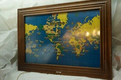 Vintage Howard Miller Clock World Time Zone Wall Map Electric 1959 Light Up 4625