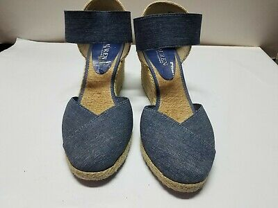 c523d44b1c0 RALPH LAUREN WOMENS Charla Navy Shoes Wedges Sandals 9.5 Medium (B,M ...