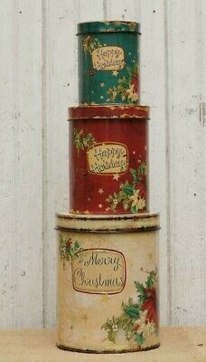 CHRISTMAS STACKING TINS 3pc Vintage Retro Style Cottage Happy Holidays Primitive
